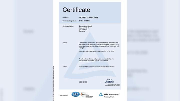 ISO 27001 Zertifikat von Sensorberg